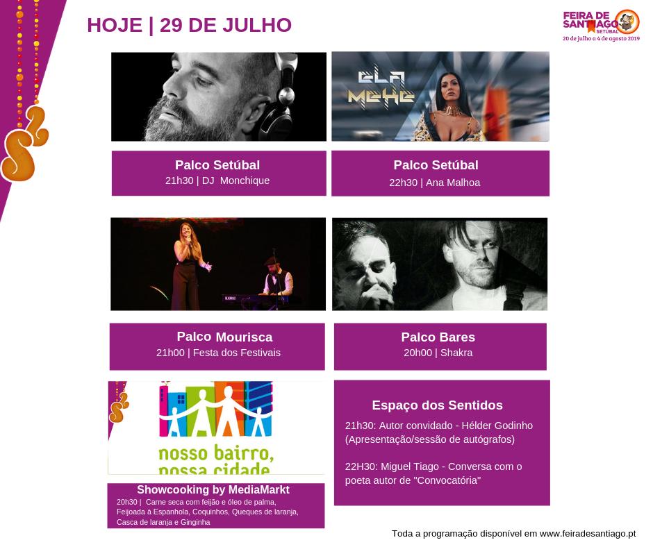 Feira de Sant'Iago | Programação | Dia 29 julho