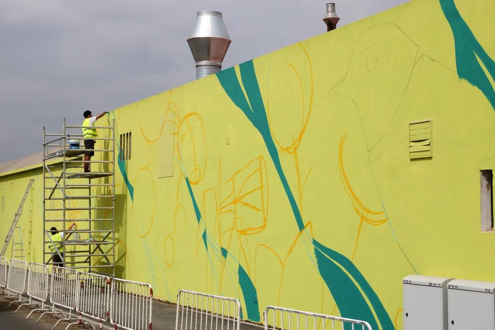 Jardins Efémeros - pintura de mural - Avenida de Moçambique