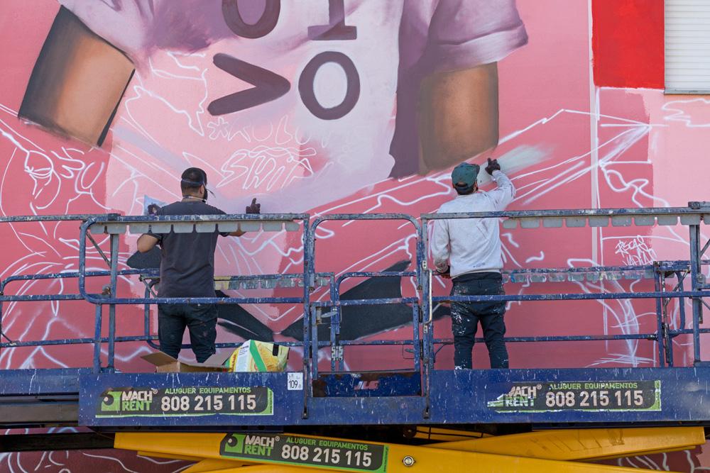 Alameda das Palmeiras - pintura de novo mural - 2019