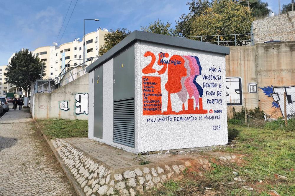 Dia Intenacional da Eliminação da Violência Contra as Mulheres | Pintura de mural | Movimento Democrático de Mulheres