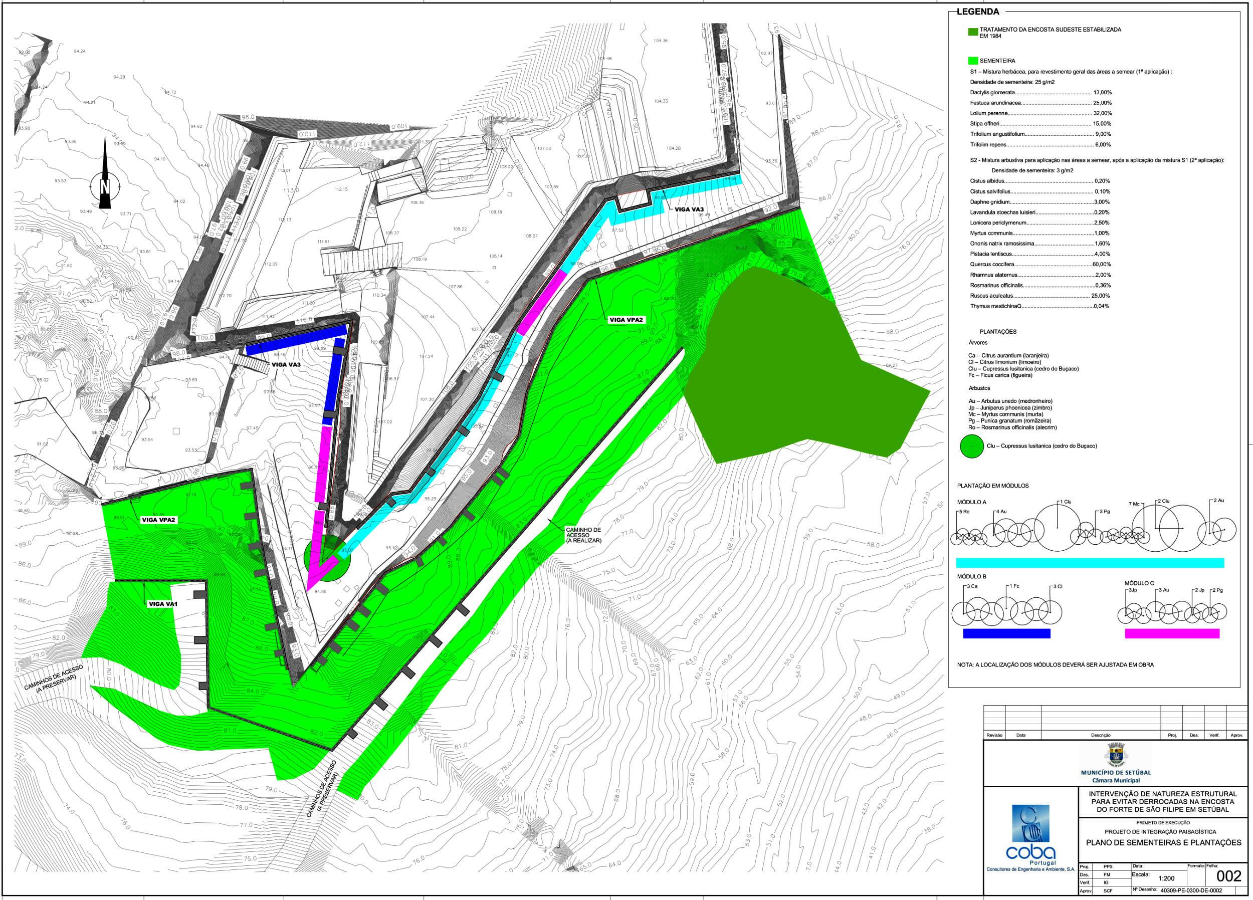 Forte de São Filipe | Intervenção para evitar derrocadas | Planta de apresentação