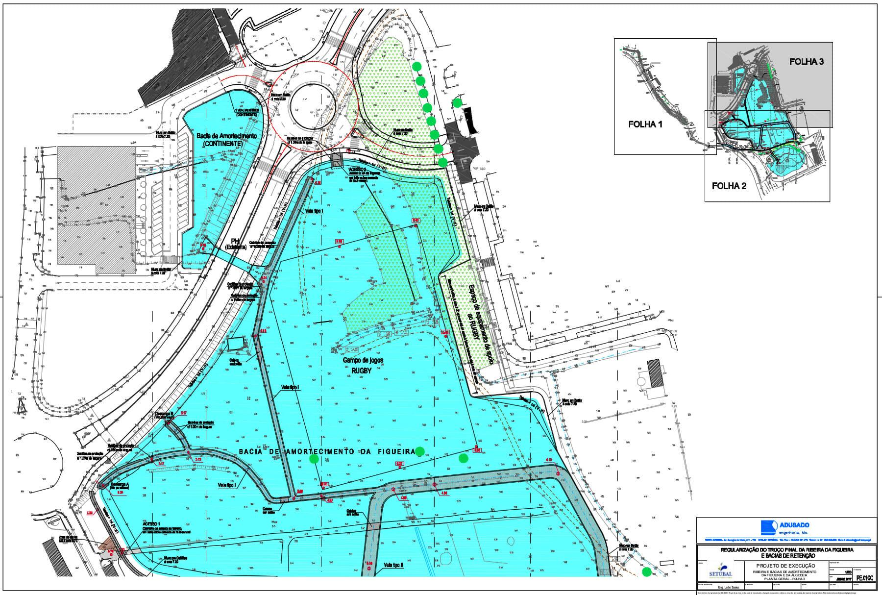 Obras de prevenção de cheias | Regularização do troço final da Ribeira da Figueira | Planta geral