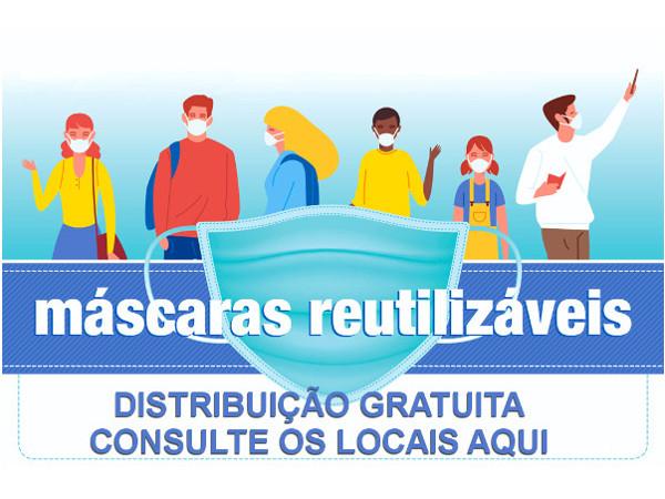 Máscaras reutilizáveis | Distribuição gratuita | Banner