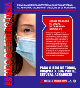 Covid-19 | Estado de Emergência | Uso de máscara no local de trabalho