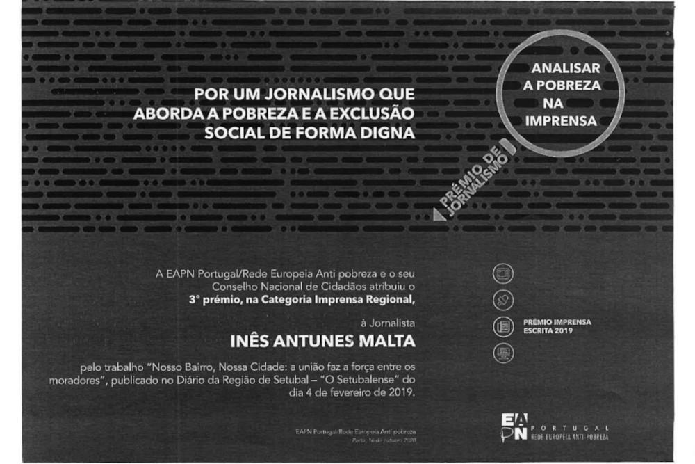 """Prémio de Jornalismo """"Analisar a pobreza na Imprensa""""   Inês Antunes Malta"""