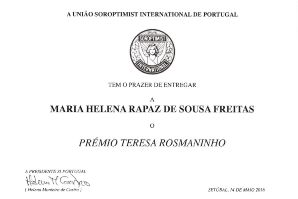 Prémio Teresa Rosmainho   Helena de Sousa Freitas