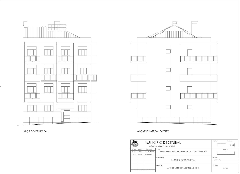 Requalificação de edifício na Rua Álvaro Gomes   Alçado principal e lateral direito