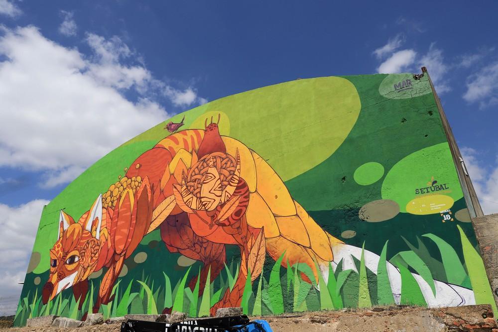 Mural 18   Mural raposa de GonçaloMAR   Avenida Jaime Rebelo