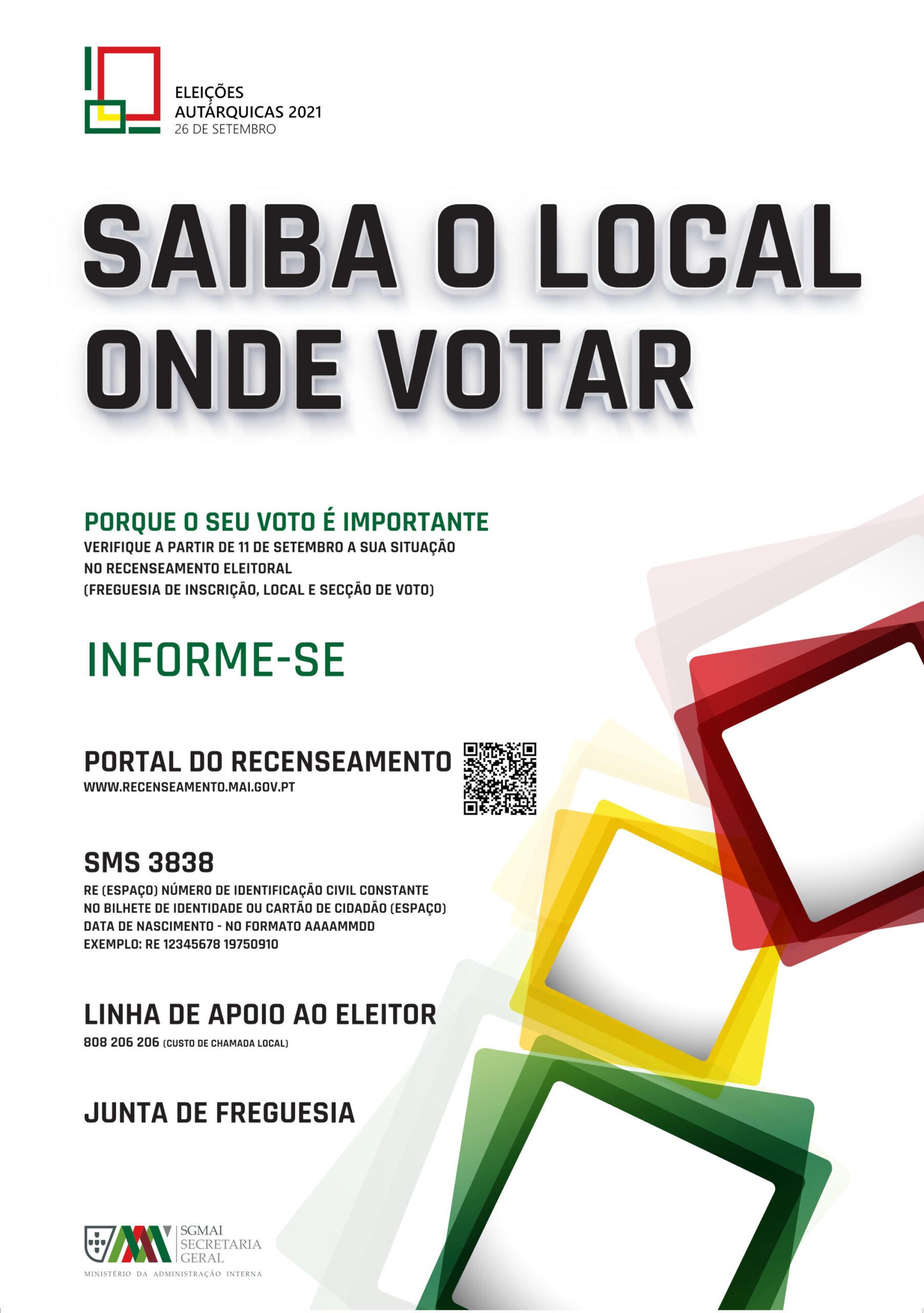 Eleições Autárquicas 2021 | Saiba Onde Votar